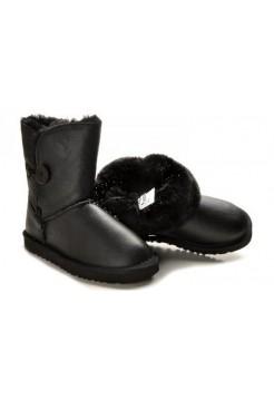Купить Детские угги UGG Baby Bailey Button Leather Black В Украине