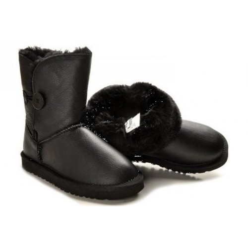 Детские угги UGG Baby Bailey Button Leather Black