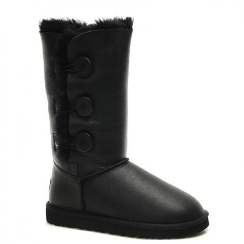 Купить UGG Bailey Button Triplet Leather Black в Украине