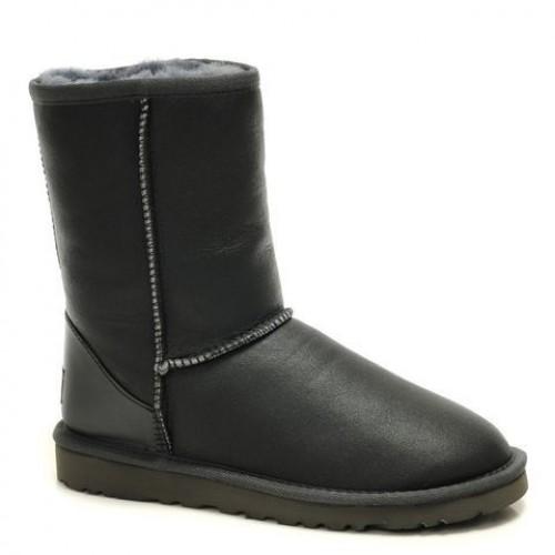 Купить UGG Classic Short Leather Men Серые (S611) в Украине