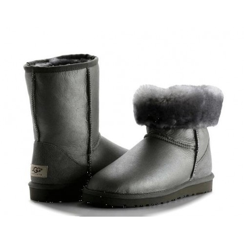 UGG Classic Short Leather Men Серые (S611)