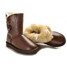 UGG Bailey Button Leather Коричневые (М421)