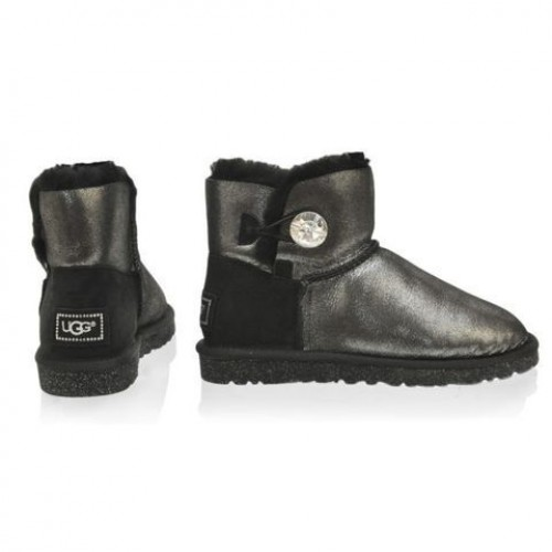 UGG Bailey Button Mini Bling Glitter Black