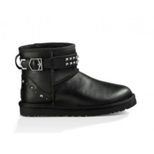 UGG Classic Mini Neva Deco Studs Leather Black
