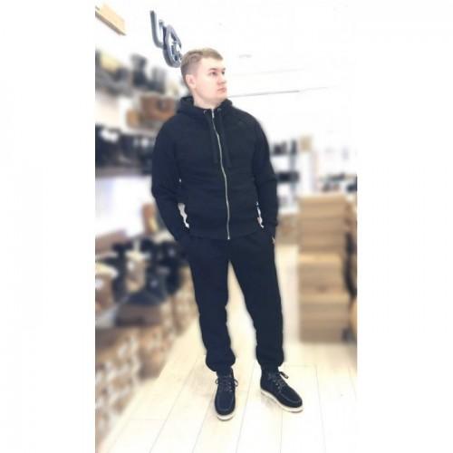 Купить Мужской теплый костюм UGG Zip Merino Black Черный на молнии, высокое горло в Украине