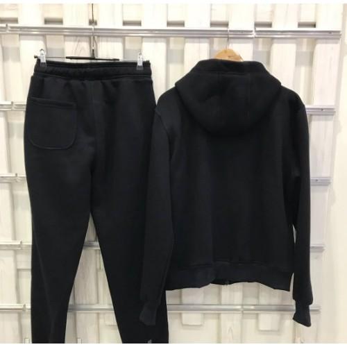 Мужской костюм UGG Australia теплый Zip Merino Blaсk черный на молнии, высокое горло, принт
