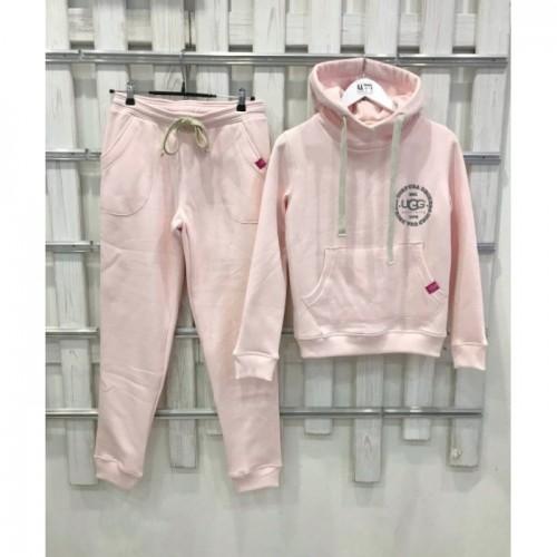 Купить Теплый костюм UGG Australia Print Tall Neck Hoodie Pink, бледно-розовый, высокая горловина в Украине