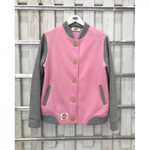 Купить Теплый бомбер UGG Australia Tall Neck Bomber, бледно-розовый с серыми рукавами в Украине