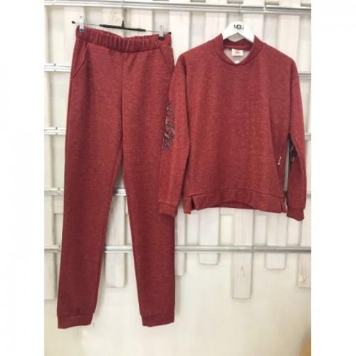 Купить Женский деми прогулочный костюм Colors of California Бордовый люрекс, свит шот в Украине