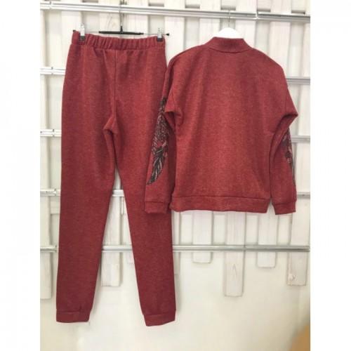 Женский деми прогулочный костюм Colors of California Бордовый люрекс, свит шот