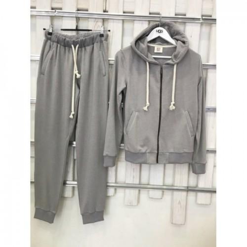Купить Женский светло-серий прогулочный костюм демі Colors of California Classic Zip Hoodie, худи на молнии в Украине
