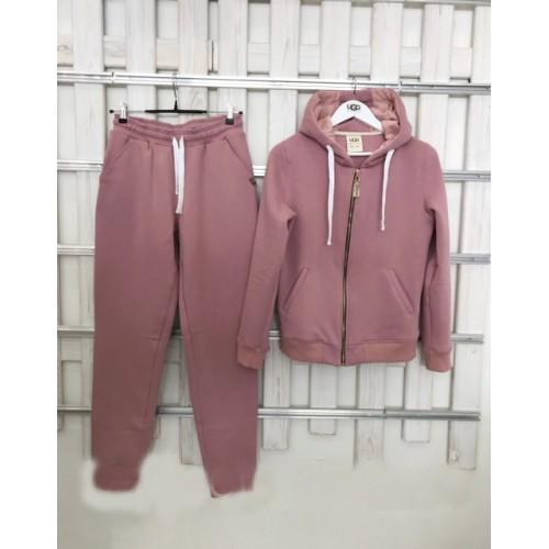 Купить Теплый женский костюм от UGG Australia Zip Merino Pink пудровый на молнии в Украине