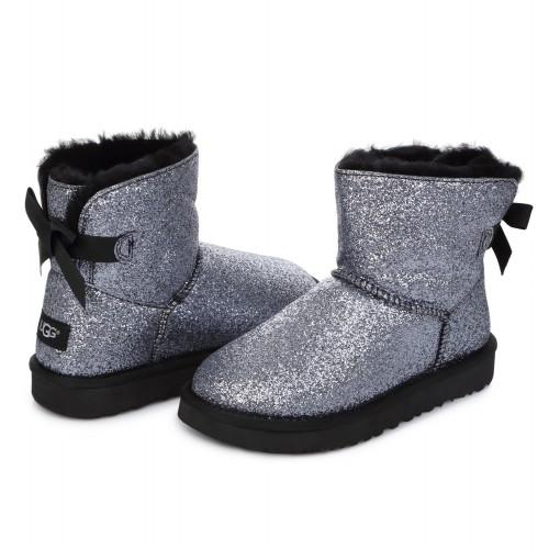 UGG Mini Bailey Bow Sparkle Black