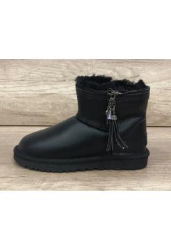 Купить UGG Classic Mini Zipper Leather Black В Украине