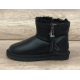 Купить UGG Classic Mini Zipper Leather Black в Украине