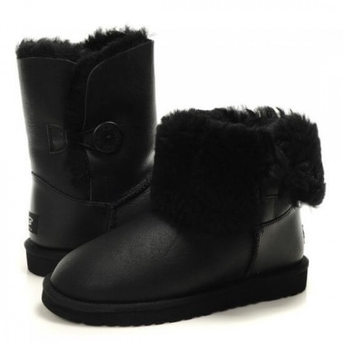 Детские угги UGG Baby Bailey Button Leather Black II