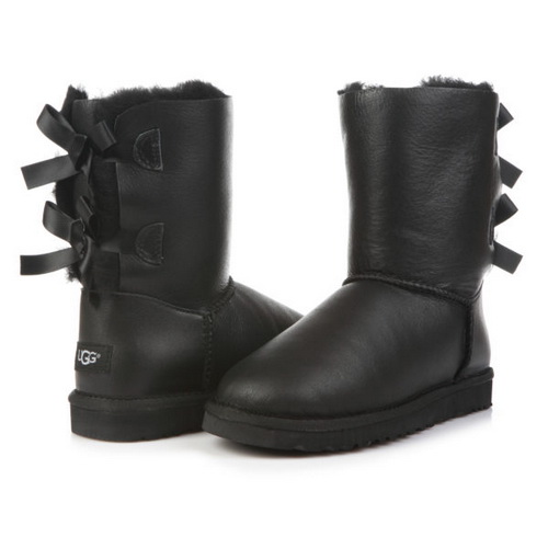 UGG Bailey Bow Leather Black