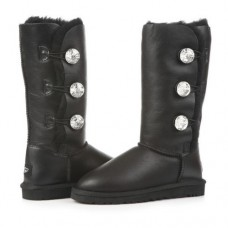 Купить UGG Bailey Button Triplet Bling Leather Black в Украине