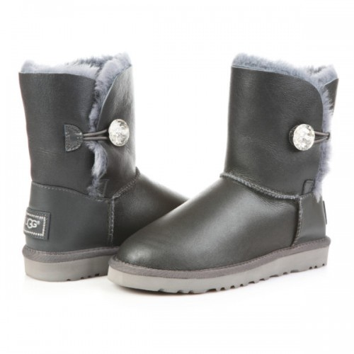 Купить UGG Bailey Button Leather Bling Grey в Украине