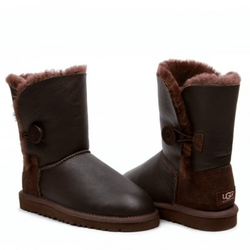 Купить UGG Bailey Button Leather Metalic Chocolate в Украине