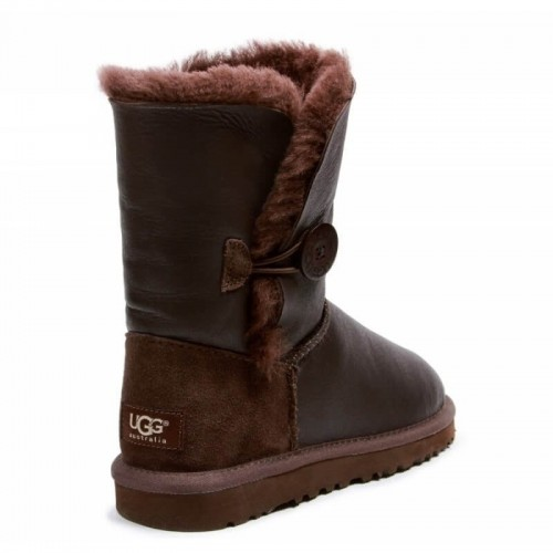 UGG Bailey Button Leather Metalic Chocolate