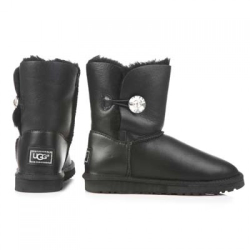 UGG Baby Bailey Button Leather Bling Black