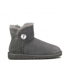 Купить UGG Mini Bailey Button Bling Grey в Украине