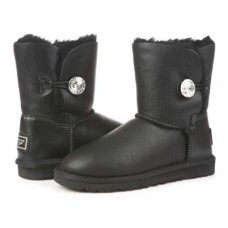 Купить UGG Baby Bailey Button Leather Bling Black в Украине