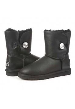 Купить UGG Baby Bailey Button Leather Bling Black В Украине
