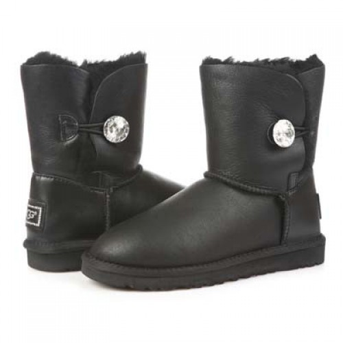 Купить UGG Bailey Button Bling Leather Black в Украине