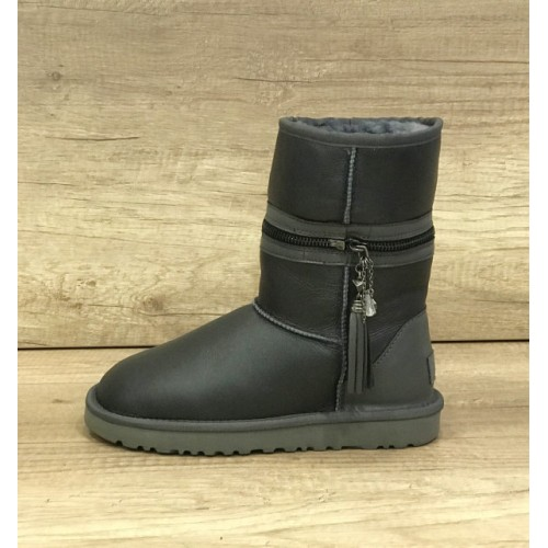 UGG Classic Short Zipper Leather Gray