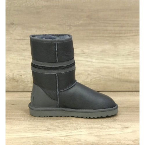 Купить UGG Classic Short Zipper Leather Gray в Украине