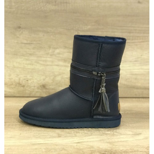 UGG Classic Short Zipper Leather Navy