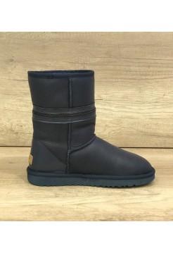 Купить UGG Classic Short Zipper Leather Navy В Украине