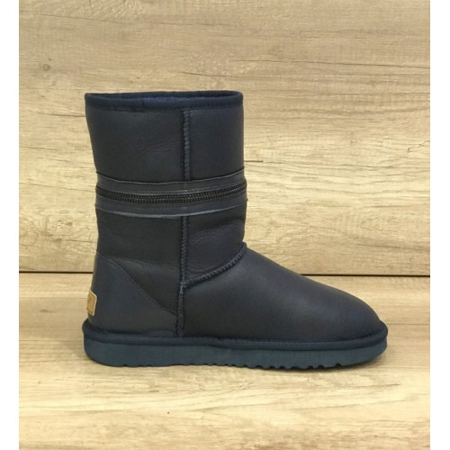 Купить UGG Classic Short Zipper Leather Navy в Украине