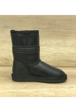 Купить UGG Classic Short Zipper Leather Black В Украине