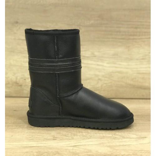 Купить UGG Classic Short Zipper Leather Black в Украине