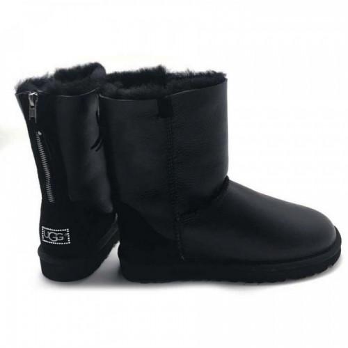 Купить UGG Classic Short Zip Замок Leather Black в Украине