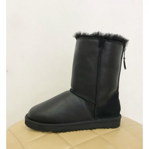 UGG Classic Short Zip Замок Leather Black