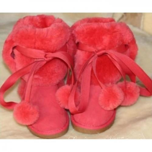 Купить UGG Classic Short на шнуровке малиновые в Украине