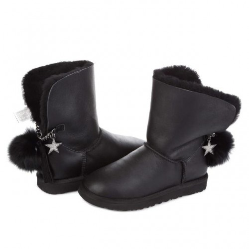 UGG Australia Classic Short Black Star Leather
