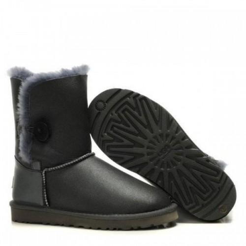 Купить Детские угги UGG Kids Bailey Button Leather Gray в Украине