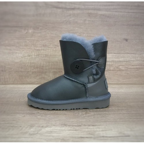 Детские угги UGG Kids Bailey Button Leather Gray