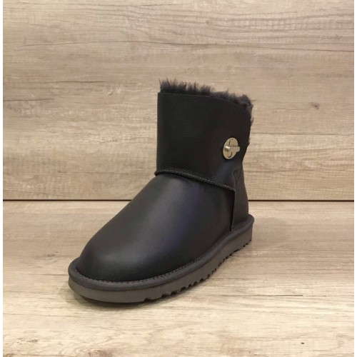 UGG Bailey Button Mini Turnlock Leather Темно-коричневые