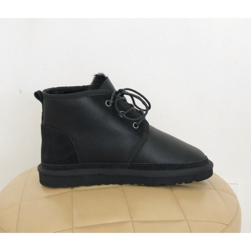 Купить UGG Neumel Leather Black замшевая пятка в Украине
