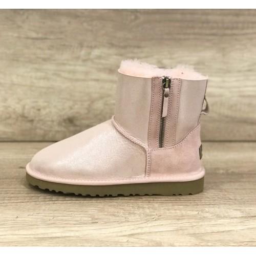 UGG Classic Mini Double Zip Перломутровые бледно-розовые