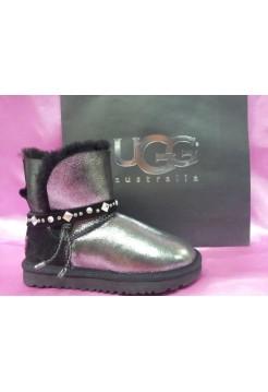 UGG Classic Mini Renn Leather Glitter Black