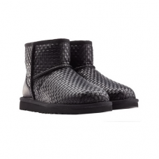 Купить UGG Classic Mini Woven Leather Black в Украине