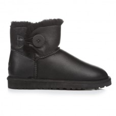 UGG Bailey Button Mini Leather Black
