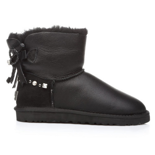 Купить UGG Mini Renn Metallic Leather Black в Украине